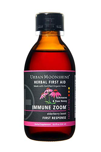 Urban Moonshine Immune Zoom, Organic Herbal Supplement with Elderberries Echinacea for Powerful Immune Support, 8.4 FL OZ Pack of 1