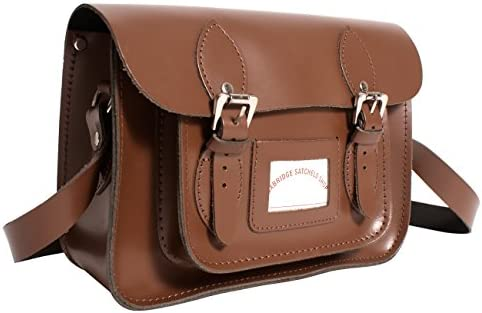 "13"" Chestnut Real Leather Oxbridge Satchel in-New RL13 Chestnut - Fashion Retro School Bag - Boxed"