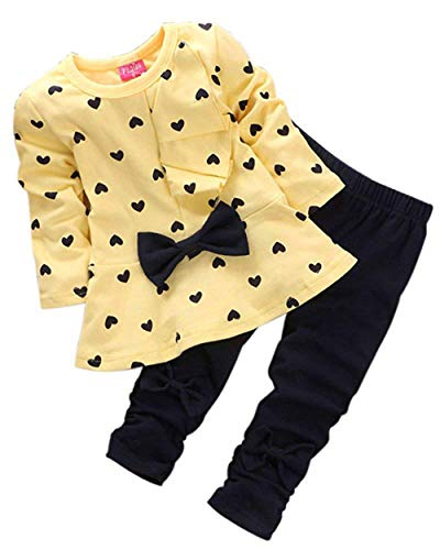 M RACLE Cute Little Girls' 2 Pieces Long Sleeve Top Pants Leggings Clothes Set Outfit (12-18 Months, Heart Yellow)