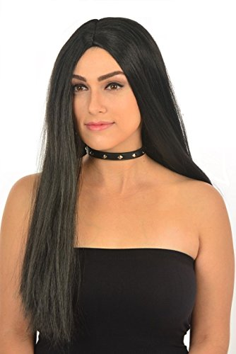 Halloween Cosplay Addams Family Long Black Straight 26