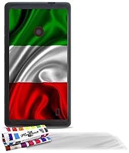 """Carcasa Flexible Ultra-Slim NOKIA LUMIA 520 de exclusivo motivo [Bandera italia] [Negra] de MUZZANO  + 3 Pelliculas de Pantalla """"UltraClear"""" + ESTILETE y PAÑO MUZZANO REGALADOS - La Protección Antigolpes ULTIMA, ELEGANTE Y DURADERA para su NOKIA LUMIA 520"""