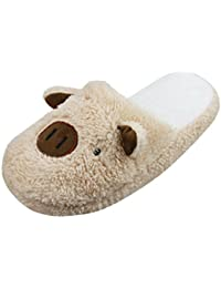 Winter Warm Fleece Slippers,Womens Ladies Girls Cute Cartoon Soft Cozy Thermal Fuzzy Indoor Slippers Non-slip Home Bedroom Slide Slipper Booties Plush Slip-on House Slippers Ankle Boots Shoes Gift