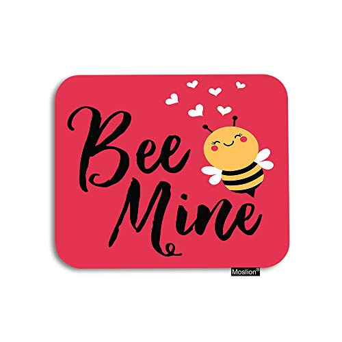 Moslion Love Bee Mouse Pad Cute Cartoon Animal Quote Bee Mine Love Heart for Valentine's Day Gaming Mouse Pad Rubber Large Mousepad for Computer Desk Laptop Office Work 7.9x9.5 Inch