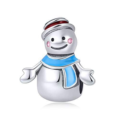 Boy or Girl Snowman Charm 925 Sterling Silver Charm Winter Beads for Fashion Charms Bracelet & Necklace (Blue)