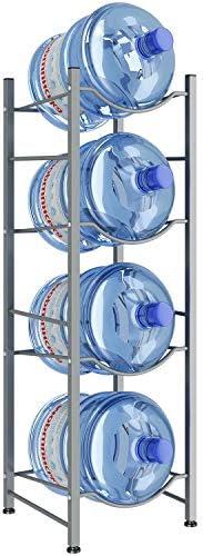 AIYAKA 4Tier Water Cooler Jug Rack,Water Cooler Jug Holder Storage, 4-Gallon Water Bottle Storage Rack Detachable Heavy Duty Water Bottle Cabby Rack for Home, Office Organization(Silver gray)