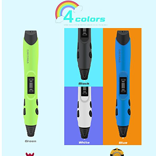 Tritina Geek3 DIY 3D Pen Scribbler Printing with LED Display Screen + Pack of 2 Printer Filament(Color: Black / Blue / White / Green)