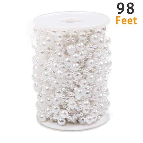 Cheap  Pearl Beads Chain 98 Feet, ABUFF Pearl Beads String Artificial Pearl Beaded..