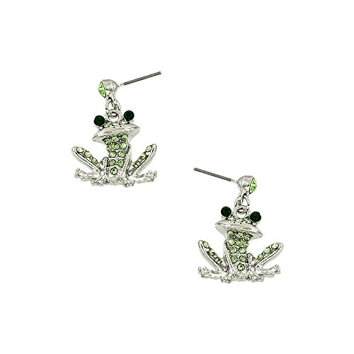 Liavy's Green Frog Fashionable Earrings - Dangle Post - Sparkling Crystal - Unique Gift and Souvenir