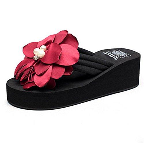 Zapatillas 4 Verano Clip Espesamiento Señoras Pies Para Del Los Frescas Suelas Las Playa Sandalias Flores De PFZwx5qwg