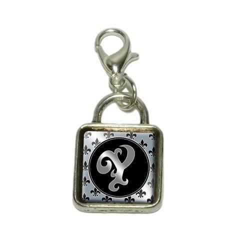 Letter Y on Fleur De Lis Pattern Dangling Bracelet Pendant Square (Fleur De Lis Pattern Bracelet)