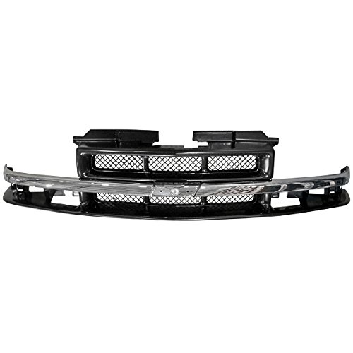 Grille Chrome & Black Mesh for 98-05 Chevy S10 Pickup Blazer SUV Brand ()