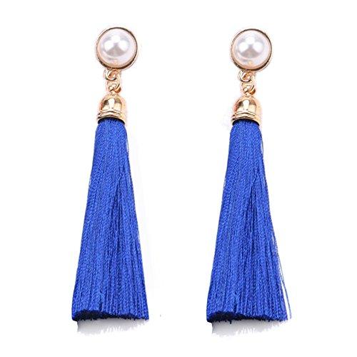 Women Colorful Thread Tassel Earrings with Pearl Drop Earrings Dangle (Royal Blue)
