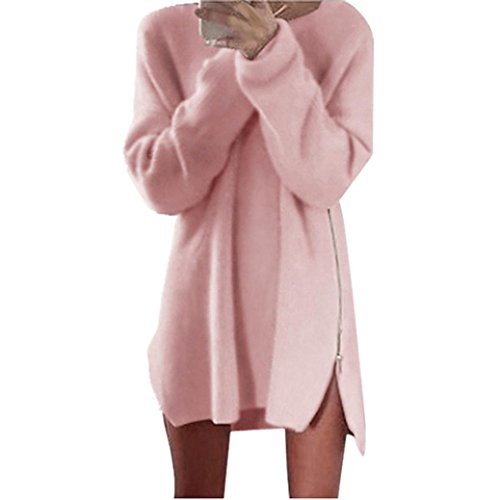 Mchoice Autumn Winter Women Side Zip Knitted Cardigans Sweater Dress (XL, Pink) (Brocade Zip Jacket)