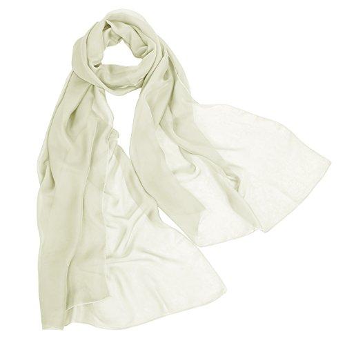 s Soft Sheer Elegant Chiffon Shawl Wrap Wedding Scarf Ivory 200CM75CM (Ivory Silk Chiffon)
