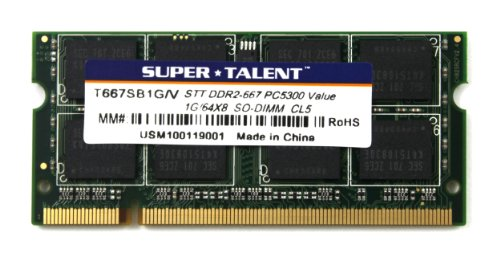Super Talent DDR2-667 SODIMM 1GB/64x8 Value Notebook Memory T667SB1G/V by Super Talent