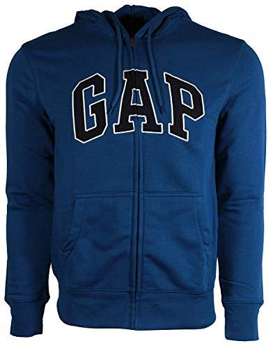 - GAP Mens Fleece Arch Logo Full Zip Hoodie (Large, Heather Blue)