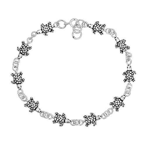 - AeraVida Sea Turtles Inspired .925 Sterling Silver Link Bracelet