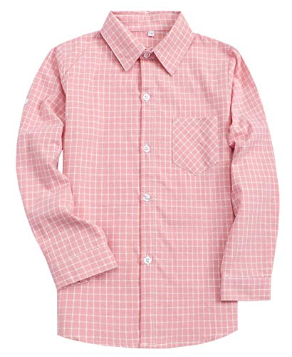 (Kids Boys Long Sleeves Button Down Plaid Flannel Shirt Pink, 13-14 Years = Tag 185)