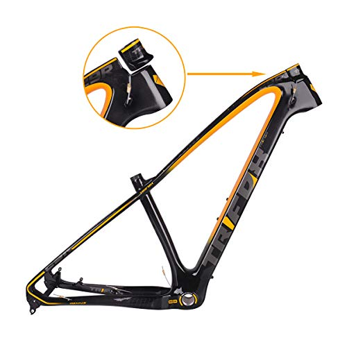 TRIFOX 27.5/29er Gold Carbon Fiber Mountain Bike Frame Carbon MTB Bicycle Frame 31.6mm Thru Axle Compatible Yellow 17inch