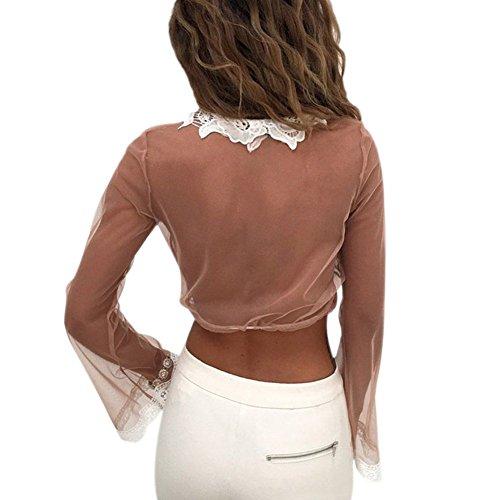 Yalatan Women See Through Mesh Deep V-neck Lace Blouse Sexy Short Blouse Tops