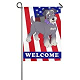 Tom Boy Schnauzer Dog Decorative Garden Flag One Sided,American Flag Garden Decorations,Welcome Animal Outdoor Flag 12×18
