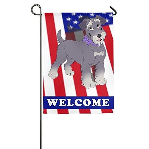 Schnauzer Garden Flag - Tomboy Schnauzer Dog Garden Flags Welcome Decorative Yard Flag 12 X 18