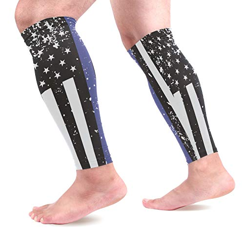 - DERLONKAJE Thin Blue Line American Flag Jersey Calf Compression Sleeves 1 Pair, Leg Performance Support for Shin Splint Calf Pain Relief Men & Women Guards Sleeves for Running Cycling