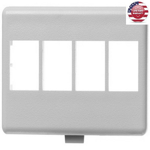 - 5 Pack X NetKey HD Keystone Modular Furniture Faceplates - 4 Port - White - By Nexiron