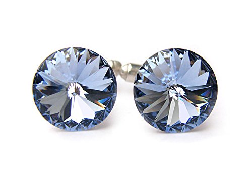 Swarovski Elements Cufflinks,Sapphire Cufflinks,Crystal Cufflinks,Handmade Cufflinks,Glass Round Silver Cufflinks,Charm Jewelry,Shirt Cufflinks ()
