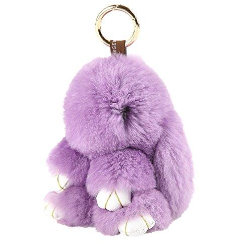 ETENOVA Bunny Keychain Soft Cute Rex Rabbit Fur Keychain Car Handbag Keyring Bag Charms Pendant