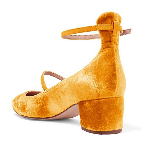 XYD Womens Retro Marry Jane Block Heel Pumps Velvet Ankle Strap Round Toe Dress Shoes Size 9.5 Orange by XYD (Image #4)
