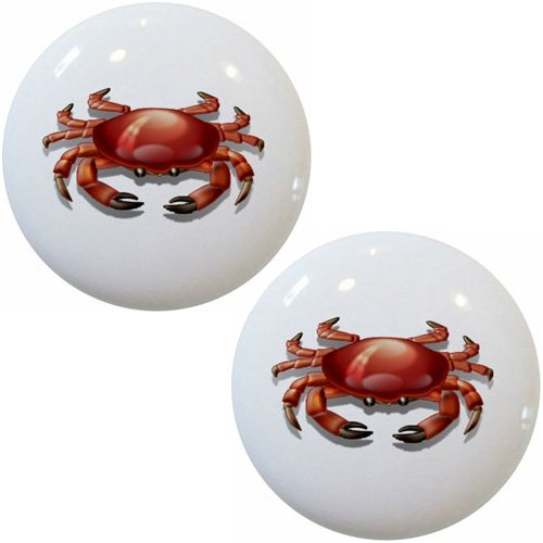 Set of 2 Red Crab Ceramic Cabinet Drawer (Crab Cabinet)