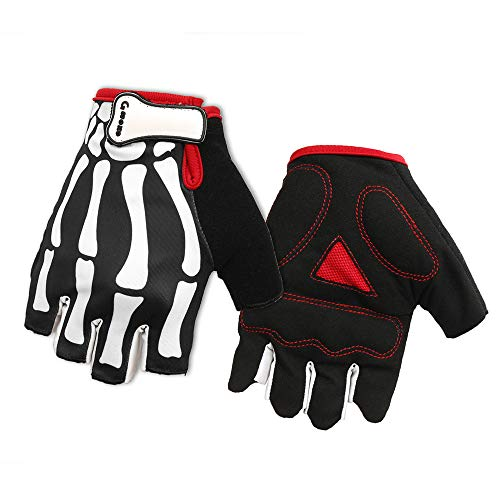 LIULIULIUNovelty Men Women Winter Warm Skeletons Ghost Claw Gloves Half Finger Bicycle Gloves (L) -