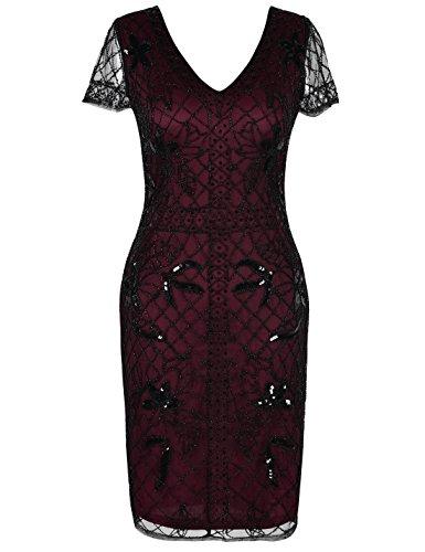 PrettyGuide Women's Flapper Dress Bead Deco Short Sleeve 1920s Gatsby Dress S Burgundy
