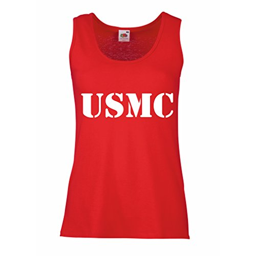 Marines Sleeveless (lepni.me Womens Tank Tops USMC Emblem, Marine Corps, Marines Logo, US Navy Armed Forces (X-Large Red White))