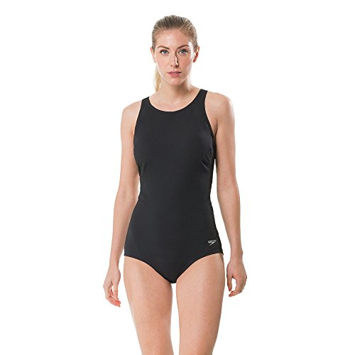 Speedo Women's High Neck Women's Swimsuit, Speedo Black, Size 10