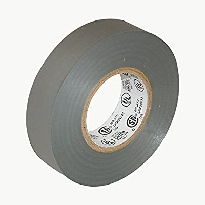 """JVCC E-Tape Colored Electrical Tape, 66' Length x 3/4"""" Width, Gray"""