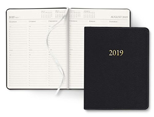 2019 Gallery Leather Midnight Black Large Weekly Professional Planner