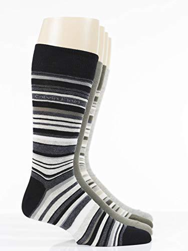 Calvin Klein Men's Multi Stripe Socks - 4 Pack, Black/Charcoal/Taupe Wood, Large - Mens Taupe Stripe