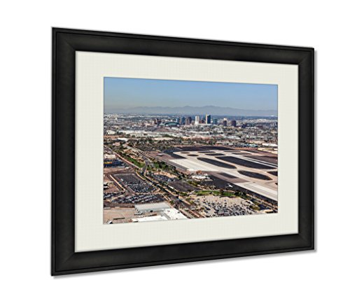 Ashley Framed Prints, Downtown Phoenix Arizona Skyline From Above Sky Harbor International Airport, Black, 24x30 Art, - Sky Harbor Arizona