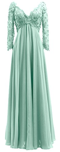 Evening V Mother The Neck Dress Aqua Women Bride Macloth Long Of Sleeves Lace Gown xZ5wI8Aq