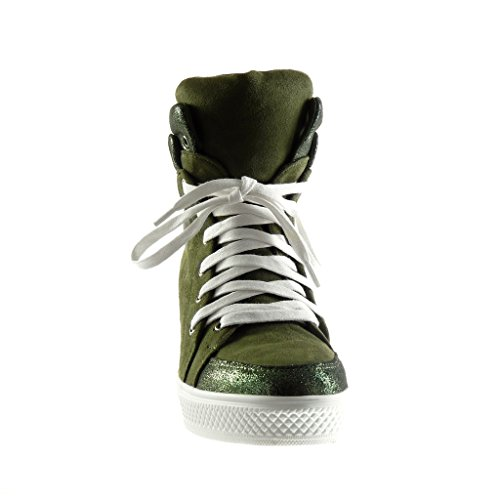 Angkorly - Scarpe da Moda Sneaker alti zeppe stile vintage donna lucide lucide Tacco zeppa piattaforma 8 CM - Verde
