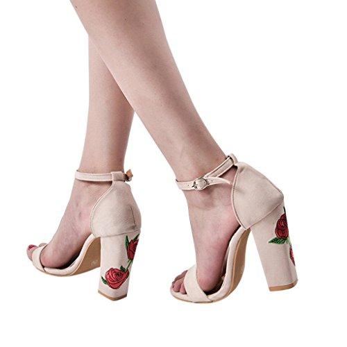 Bescita Para Mujer Sandalias Lona Vestir de de Beige w4PvqwfZx