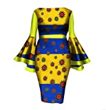 Women Dashiki Flare Sleeve African Print Cotton Club Cocktail Gowns 12 L