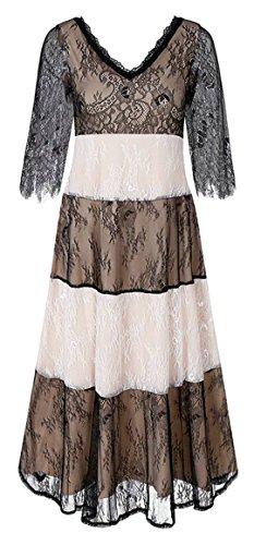 Jaycargogo Midi Dress Sleeve Womens Neck Lace Half Apricot V Swing 1wS1qTf