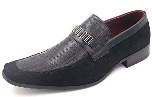 Nxt Mens Mocassino In Pelle Nera / Camoscio Con Lacci Scarpe Eleganti N2746