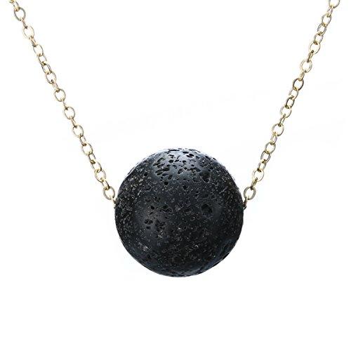 Fashion Woman Black Lava Rock Necklace Jewelry Lava Stone Essential Oil Diffuser Necklace