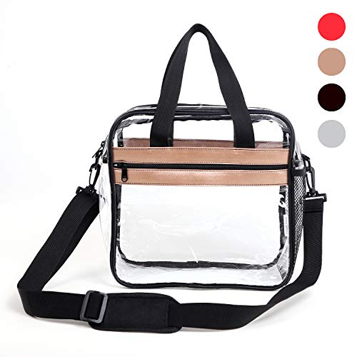 (Dinky Planet Clear Bag NFL Stadium Approved 12x6x12 Freeze-proofing, Tote Bag Carry Handles Removable Shoulder Straps PVC Bag for Woman and Man (Gold))