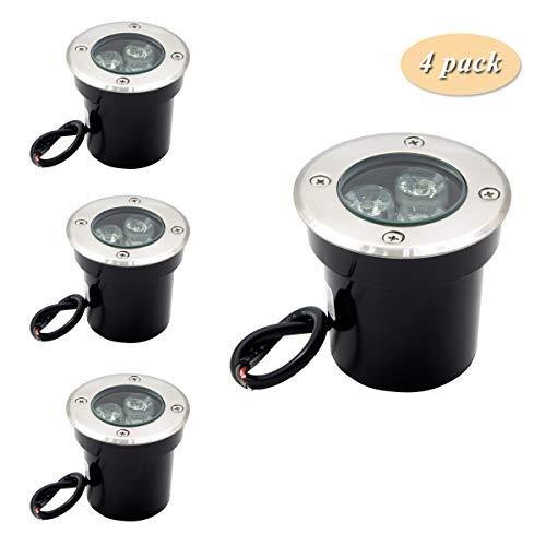 ALEDECO 4 Pack 3w 12v Low Voltage In-ground Lights LED Landscape Lighting Waterproof IP67 Pathway Lights Warm White Outdoor spotlights Trees Flags for Garden,Yard,Tree