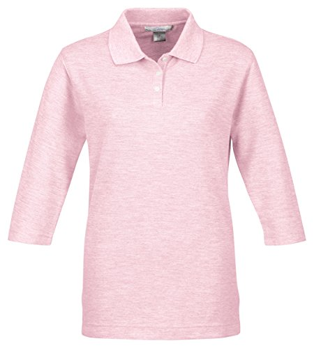 Shirt Sleeve Pique Sport (Tri Mountain Women's 3/4-Sleeve Pique Knit Golf Shirt Pink, Large)